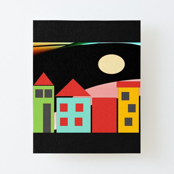 Black Red Blue Yellow Orange Pink Blue Green Teal Home Sweet Home Canvas Mounted Print