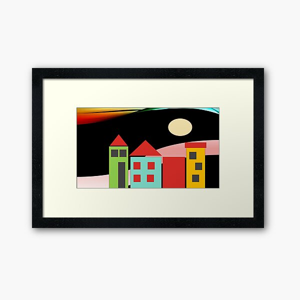 Black Red Blue Yellow Orange Pink Blue Green Teal Home Sweet Home Framed Art Print