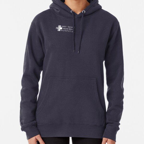 Grey + Sloan Memorial Hospital Logo | Off Centre | White Print Pullover Hoodie