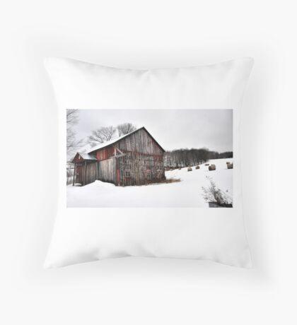 Barn & Round Bales Throw Pillow