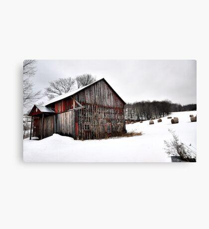 Barn & Round Bales Canvas Print