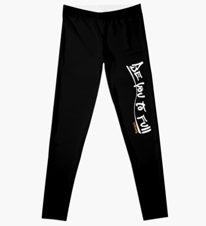 be you to full - vertical - white text Leggings