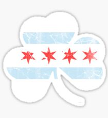 Vintage Irish Flag of Chicago Shamrock Sticker