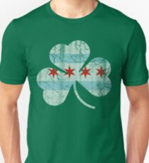 Vintage Irish Flag of Chicago Shamrock Unisex T-Shirt