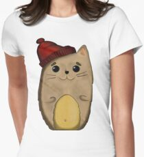 Cat in the red cap Womens Fitted T-Shirt