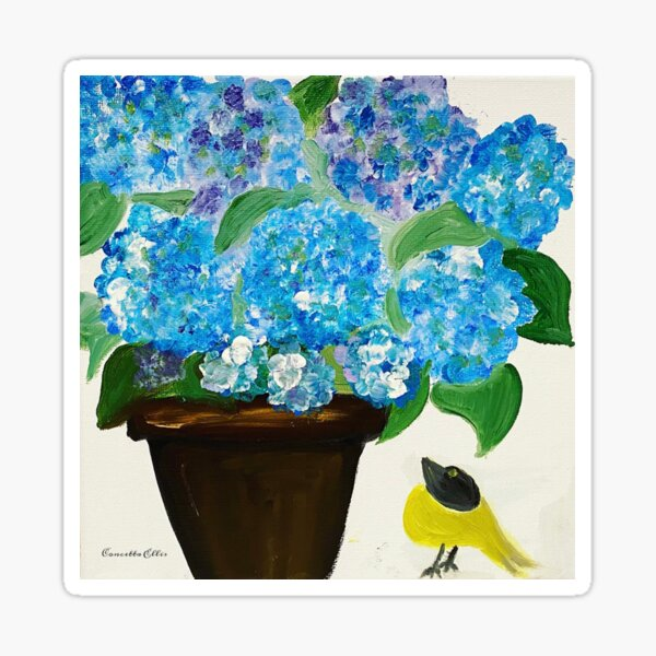 Blue Hydrangeas And Yellow Bird Sticker