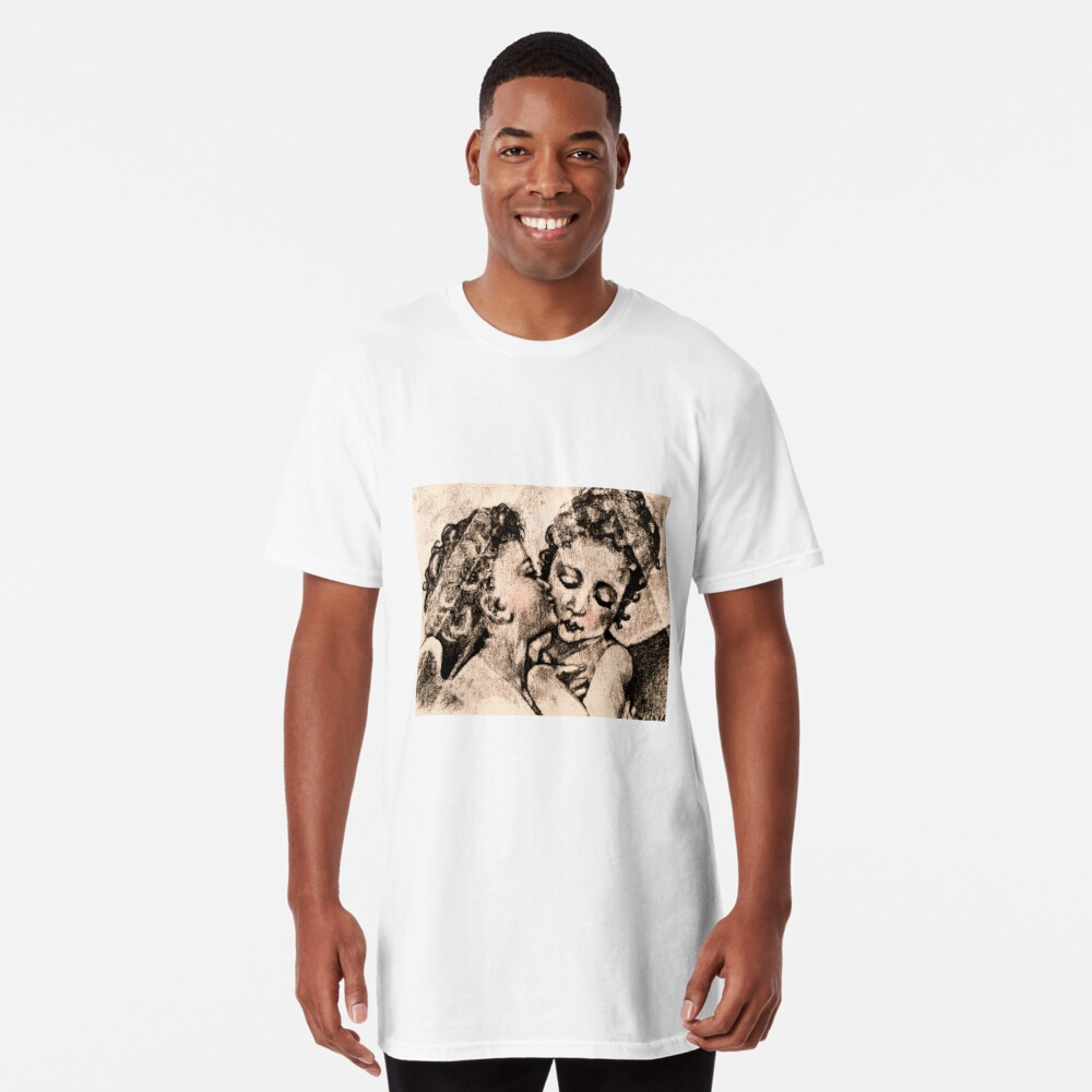 """Angel Kiss"" Kathi Nordone Original Sketch 1986 Long T-Shirt"