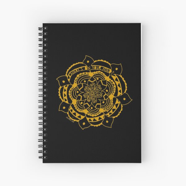 What's On Your Mind Yellow/Black Kolam Spiral Notebook