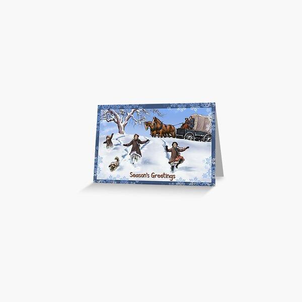 Famille Prairie dans la neige carte de voeux Anglais Carte de vœux