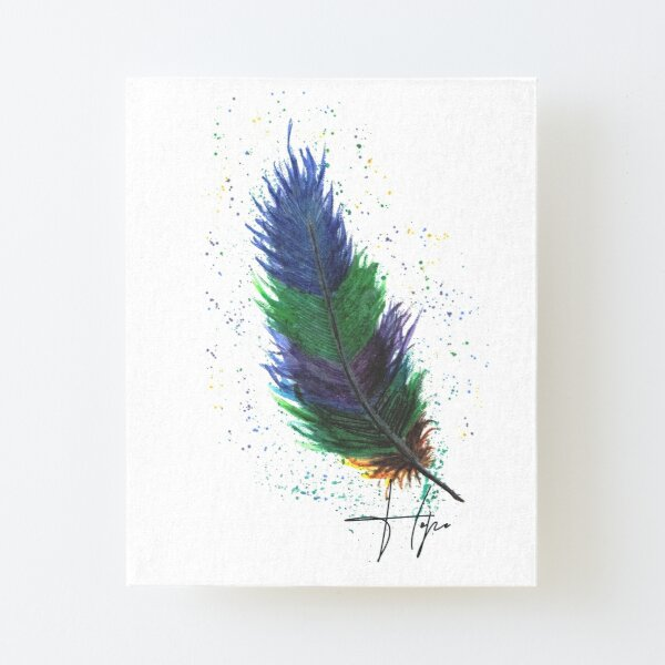 Purple'n'GreeN FeaTheR WateRColor DraWing Canvas Mounted Print