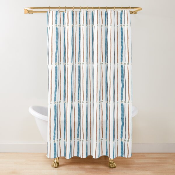 Blue Brown Gray Painted Stripes Seamless Pattern Shower Curtain