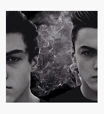 Dolan twins black and white with smoke Photographic Print
