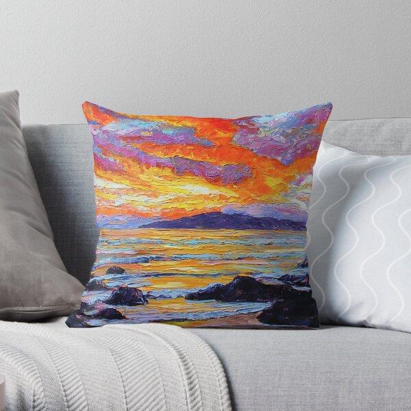 Golden Maui Sunset Throw Pillow