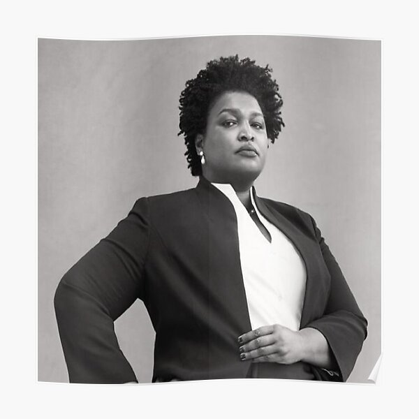 stacey abrams Black & White Photo Poster
