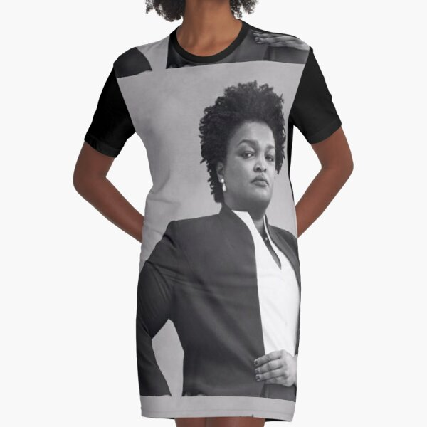 stacey abrams Black & White Photo Graphic T-Shirt Dress