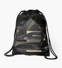 Composition of golden abstract geometry Drawstring Bag