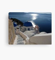 Stairway to Blue Domed Church Canvas Print