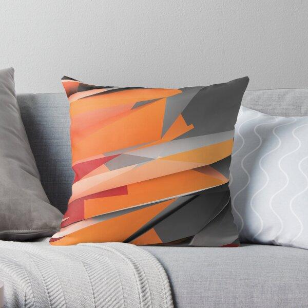 Orange-Red Shards Throw Pillow
