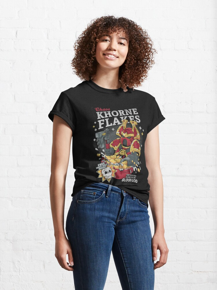 Alternate view of Chaos khorne flakes Fortified with blood for the blood god Classic T-Shirt