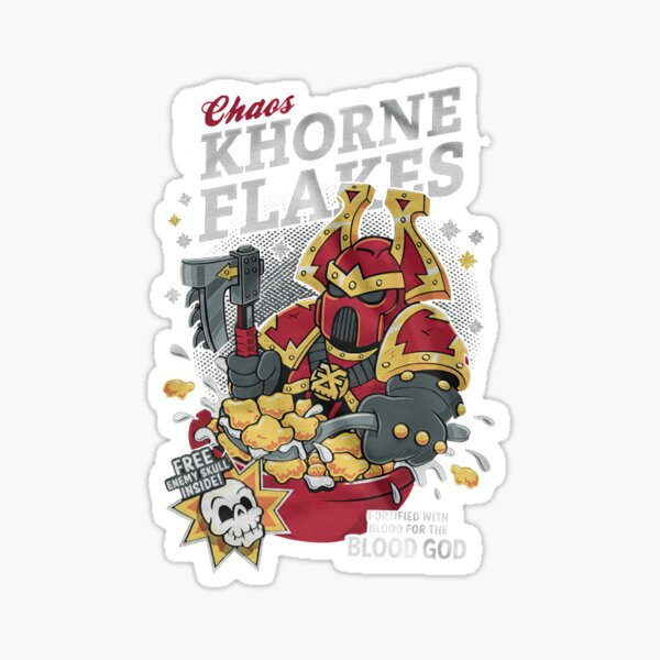Chaos khorne flakes Fortified with blood for the blood god Sticker