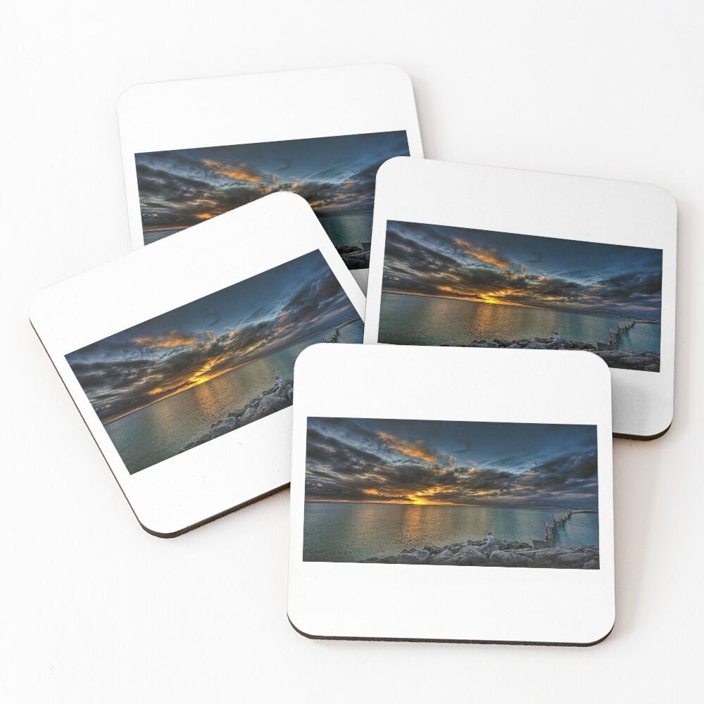 Denver Art Gallery, Sunset Beach Seawall in Okinawa Coasters (Set of 4)