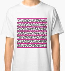 Bold Girly Hand Drawn Flowers on Neon Pink Classic T-Shirt