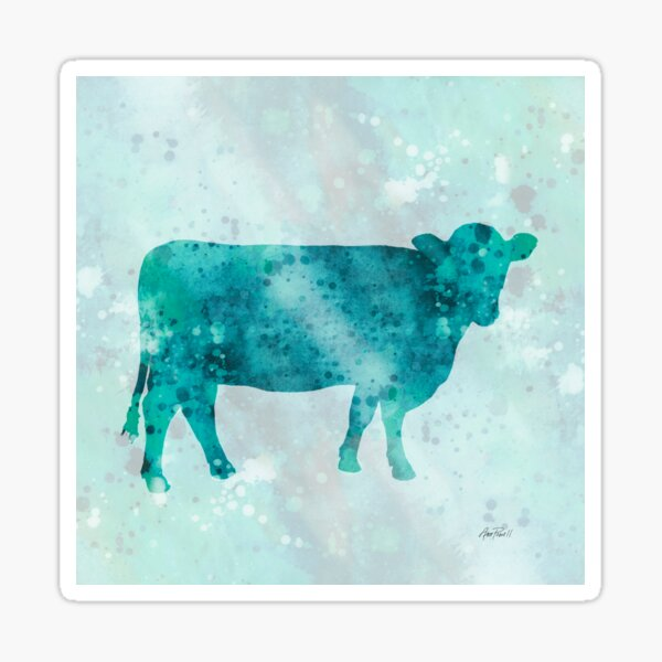 Blue Color Splash Cow Sticker