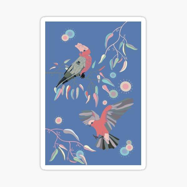 Australian Galah Cockatoos in Gum Trees on Midnight Sticker