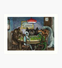 Cryptids playing poker Art Print