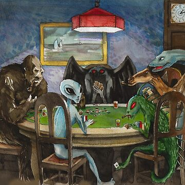 Cryptids playing poker by prunstedler