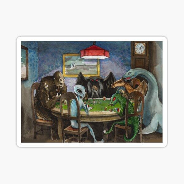 Cryptids playing poker Sticker