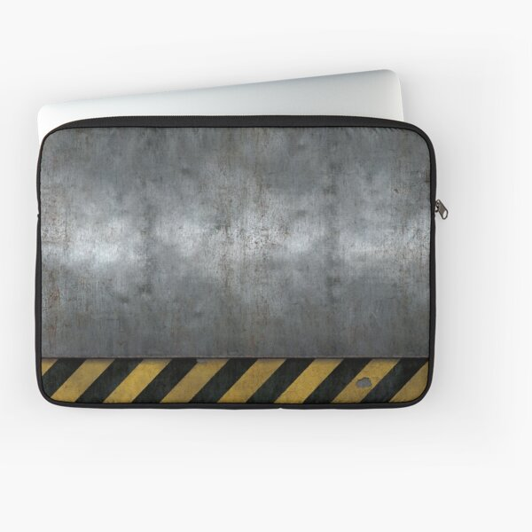Steel surface with warning stripes ▶ Laptop Sleeve