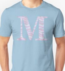 Initial M Rose Quartz And Serenity Pink Blue Wavy Lines T-Shirt
