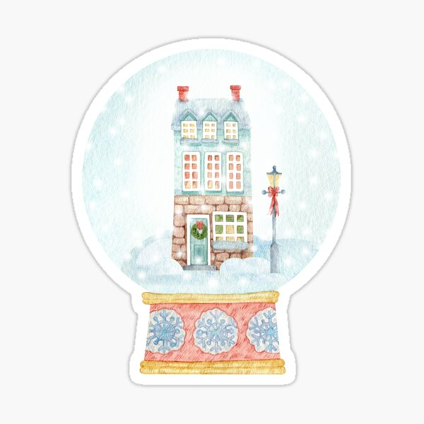 Christmas watercolor with snow globe and small cute house. Sticker