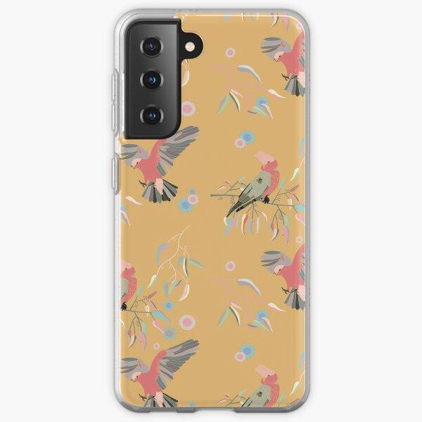 Australian Galah Cockatoos in Gum Trees Mustard Samsung Galaxy Soft Case