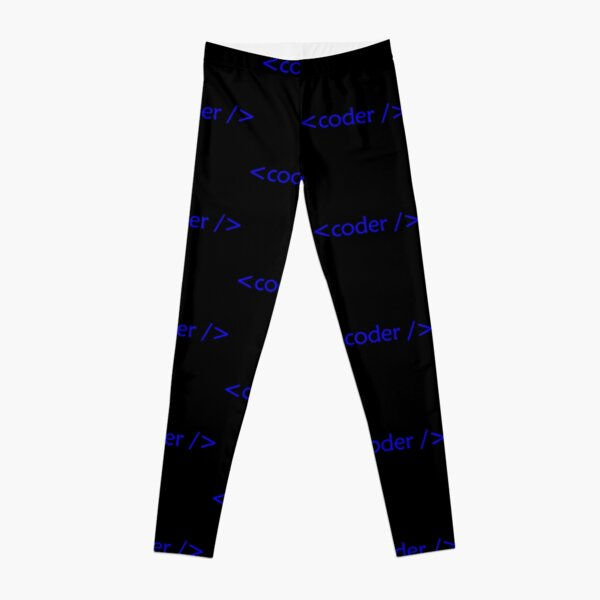 blue design of about coding, code Leggings