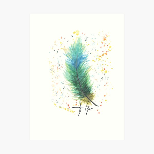 Green'n'Blue FeaTheR WateRColor DraWing Art Print