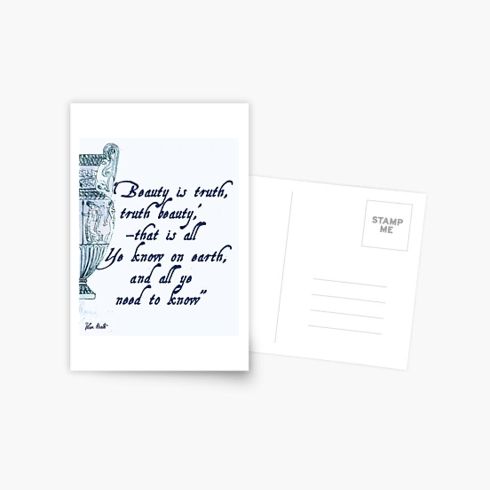 John Keats 'Beauty is Truth' quotation Postcard