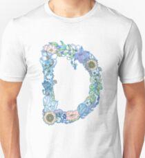 Floral Letter D  Slim Fit T-Shirt
