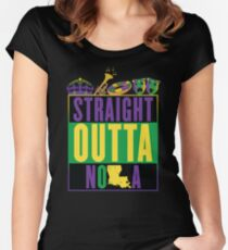 Straight Outta NOLA (Mardi Gras Version) Women's Fitted Scoop T-Shirt