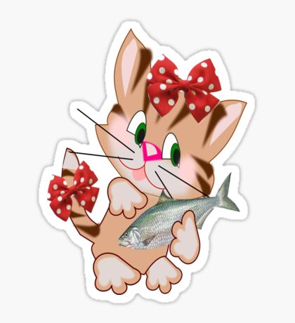 Kitty with Fish T shirt  , Tote bag and pillow (4411 Views) Sticker