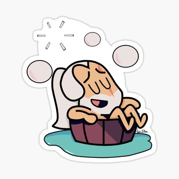 Cute Geralt taking a bath Sticker