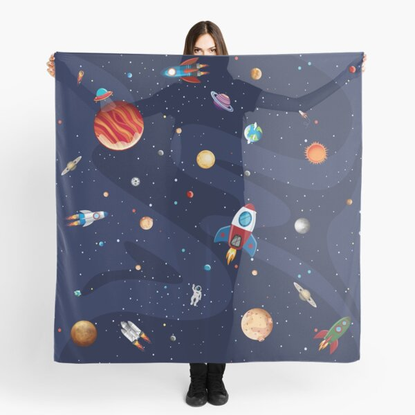 Space Rockets and Planets Scarf