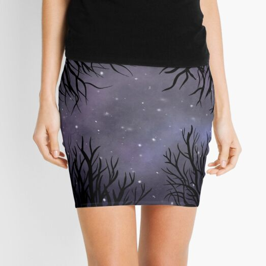 Starry Night Sky in the Forest Mini Skirt