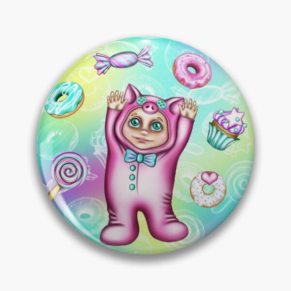 Baby Piggy Kigurumi Illustration - Sweets Party Pin