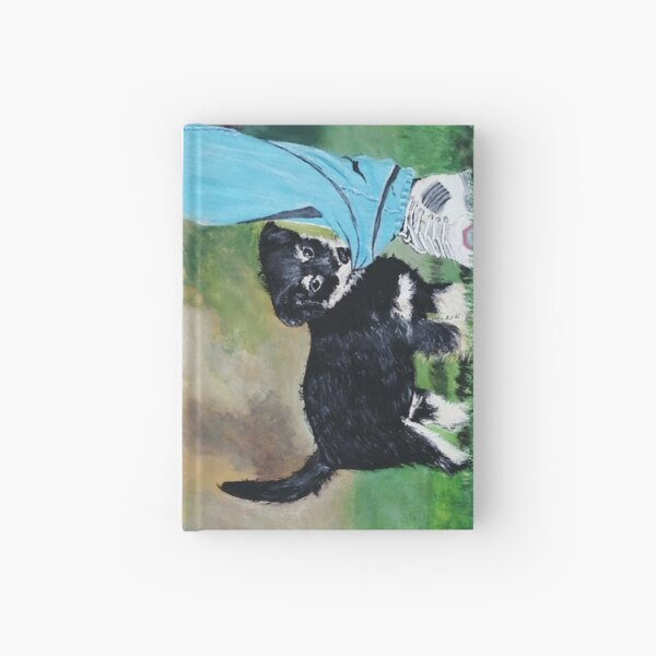 Oil painting of a cute dog playing with his owner. Hardcover Journal