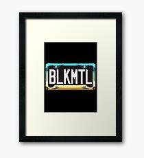SHINY BLUE/GOLD LICENSE PLATE HOLDER WITH BLACK PLATE - HVYMTL Framed Print