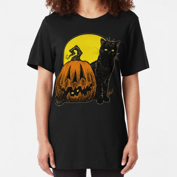 Still Life with Feline and Gourd Slim Fit T-Shirt