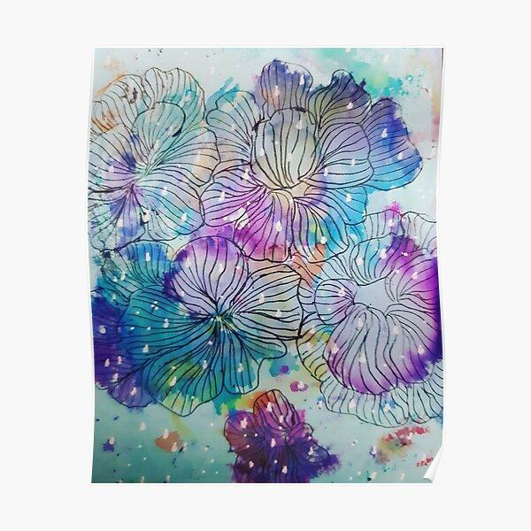 Raindrops on flowers - Pura Vida Poster
