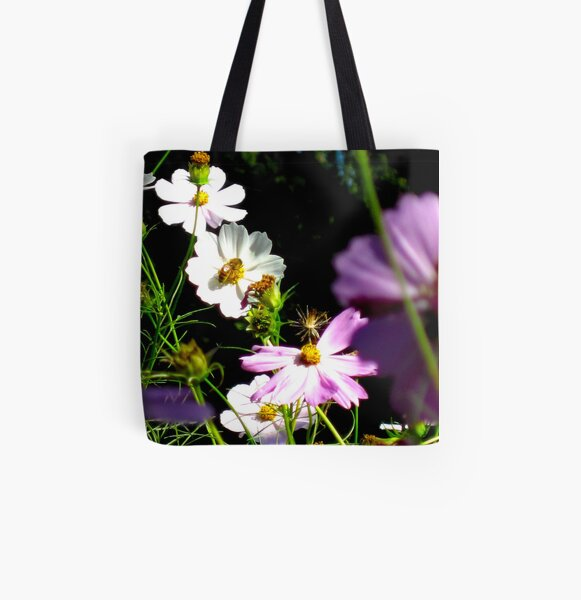Cosmos With Bee All Over Print Tote Bag